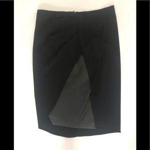 Halston layered-front high-waisted black skirt XS